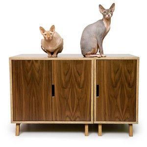 casa de mascotas. mueble para gatos de diseño ModesnistCat. Diseño de Crystal Gregory