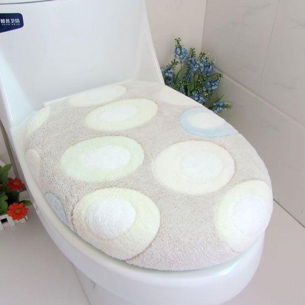 Coral Fleece Green Pebble Closestool Mat Toilet Seats Twinset