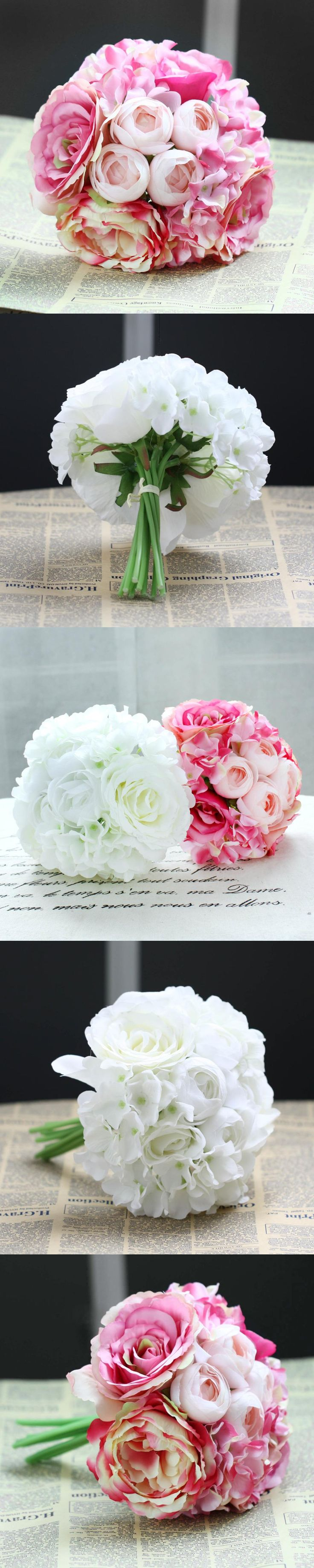11Pcs/lot Peony Rose Silk Artificial Flower Bridal Bridesmaid Hydrangeas Bouquet Wedding Flowers Latex Real Touch Flowers Flora