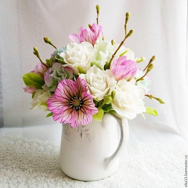 """Купить Букет """"Кувшин с весной"""" - брусничный, цветы ручной работы, Морозник, цветы из полимерной глины"""