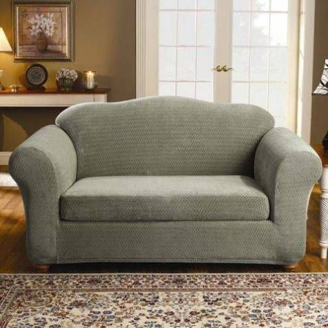 sure fit 2 piece strech royal diamond polyester loveseat slipcover set upholstery taupe