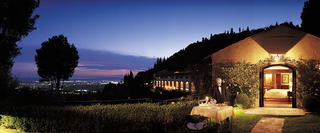 Villa San Michele Florence Italy - this was what it was like at dusk while we were there for dinner