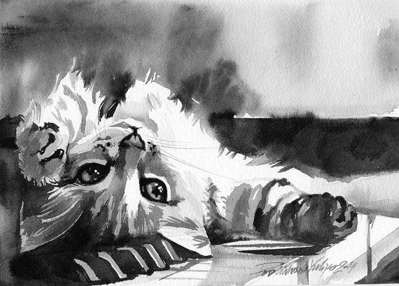 Impression de peinture aquarelle Chat tigré photo Kitty chaton gris noir et blanc Art