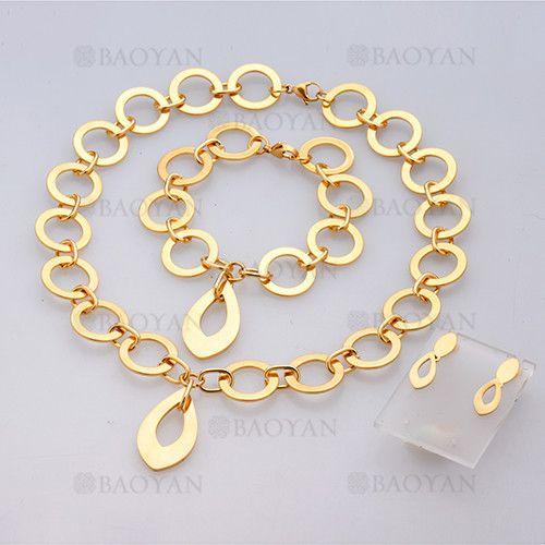 collar y pulsera y aretes sencilla de dorado en acero inoxidable-SSNEG504062
