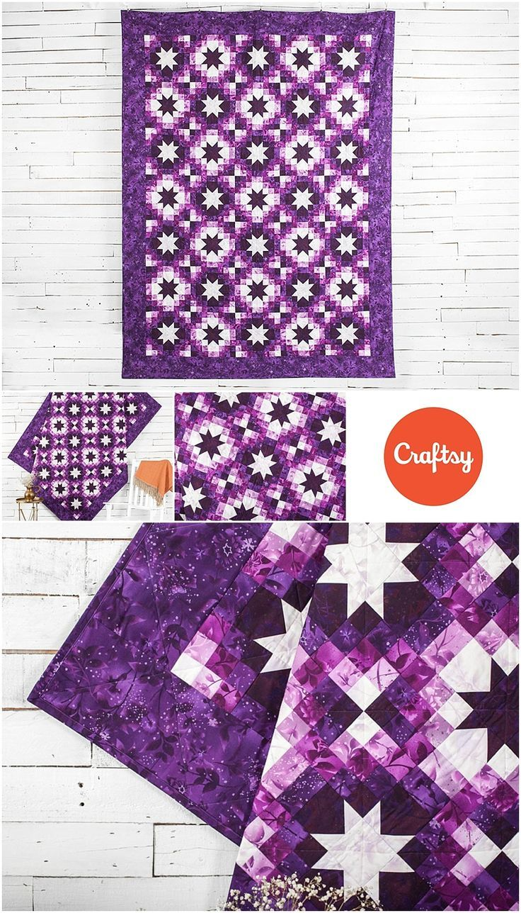 Twinkling Stars Purple Quilt Kit. Modern star quilt kit from carftsy.com. Quilt kit includes fabrics and quilt pattern to make your own star quilt. This kit uses Boundless Blendars in purple. Affiliate link.