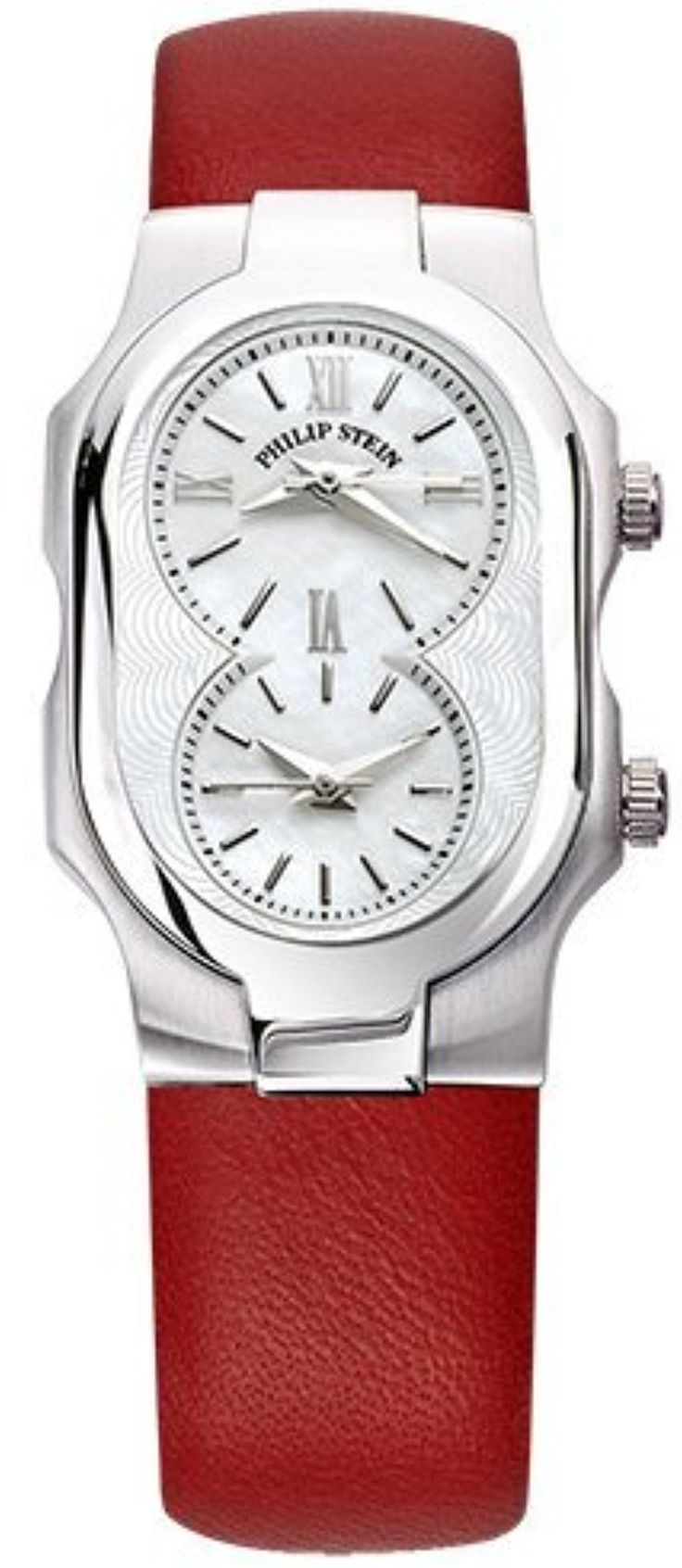 Philip Stein Signature Small Womens Stainless Steel Dual Time Watch - Red Italian Leather Band Natural Frequency Technology Philip Stein Watch 1-CMOP-CIDR by Philip Stein -- Awesome products selected by Anna Churchill
