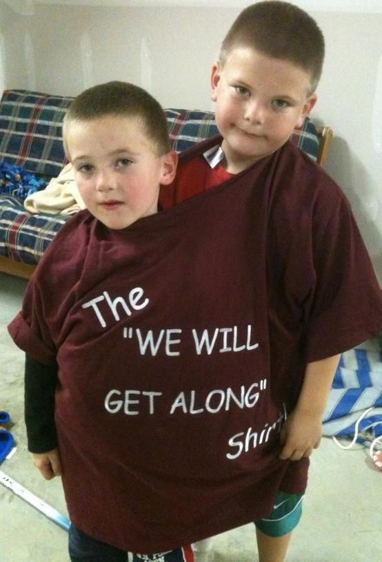 "The ""Get Along"" Shirt is an oversized t-shirt that is meant to be worn by bickering children as a disciplinary method. The humorous concept gained much of its momentum after a photograph of two children strapped together by a t-shirt reading ""The 'We Will Get Along' Shirt"" was posted to Reddit in November 2012."