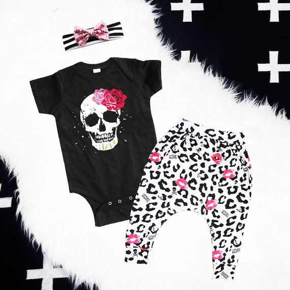 Baby Girl Outfit, Baby Girl Clothes, Baby Leggings, New Baby Coming Home Outfit Gift Set, Punk Baby Clothes, Sugar Skull, Rock n Roll, Hip