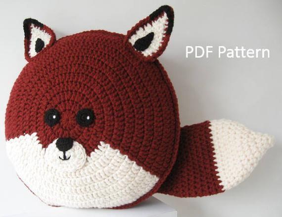 Fox Pillow – Cushion CROCHET PATTERN – crochet patterns for animal pillows – Kids Birthday present – Baby shower nursery gift