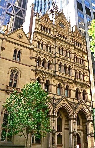 Former Melbourne Stock Exchange, Collins Street, built 1888-91. It was designed by famed architect, William Pitt, in the 'free gothic' style. Elaborately ornamented, each level of the facade differs from the others. Gargoyles and stained glass windows abound. Now part of the ANZ Bank building.