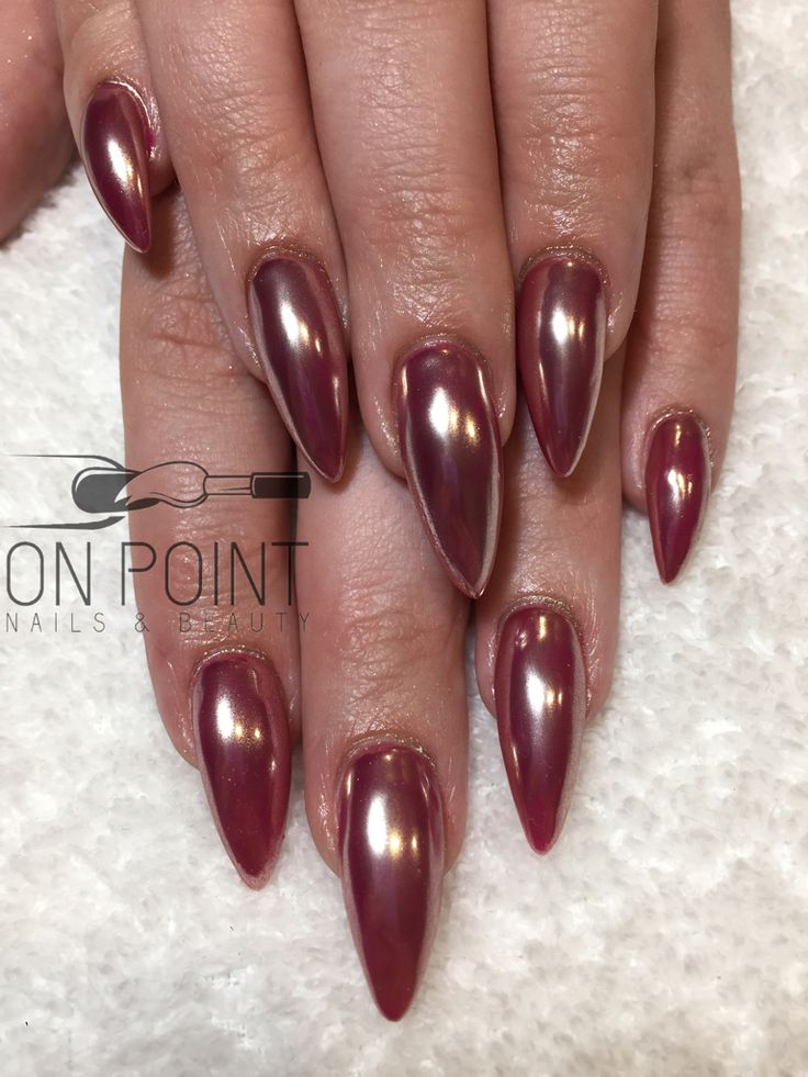 Fluid nail design acrylic nails with hot pink gel polish covered in chrome Chrome nails  Pink nails Long nails Almond nails  Stiletto nails