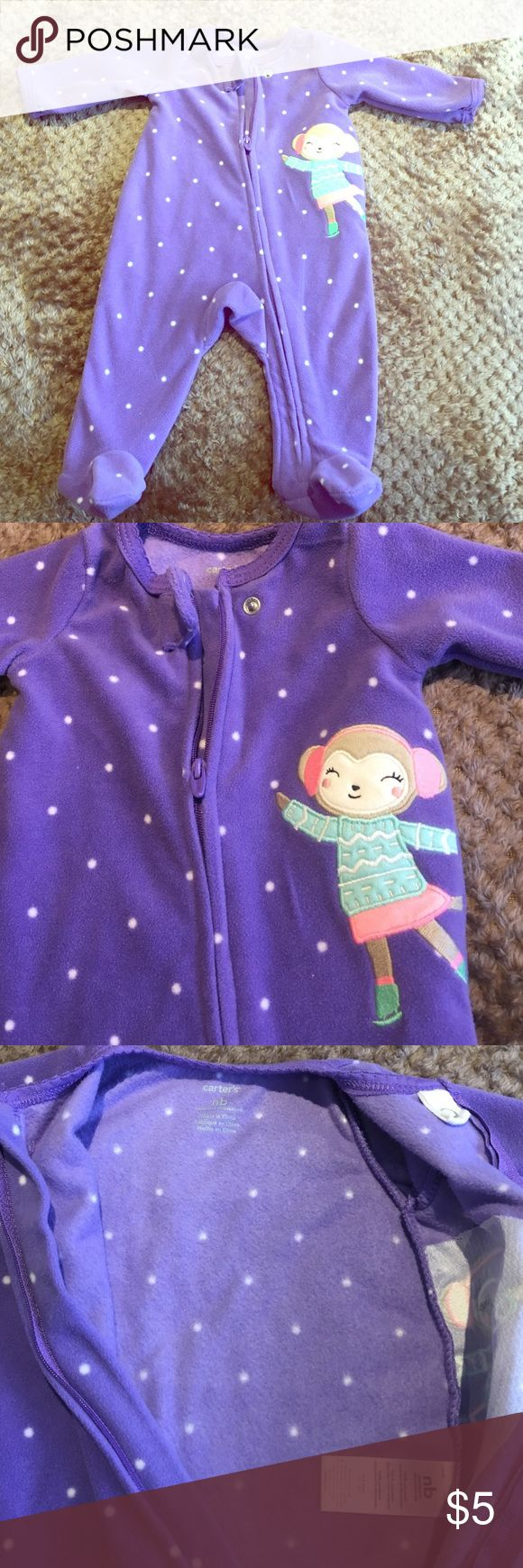 Fleece Zip-Up Sleep and Play Purple crafted in a snugly fleece with polka dots and an doll appliqué on left side! Zip up design makes for quick changes and easy dressing! Only used a few times! No stains Carter's One Pieces Footies