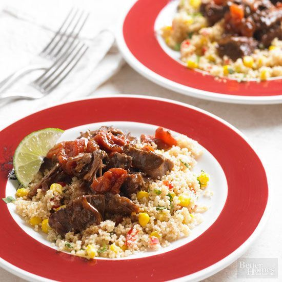 Brown sugar and a splash of Worcestershire sauce give this tender beef dish its savory-sweet flavor. Serve atop a layer of classic corn-and-pepper couscous for a Moroccan-inspired meal./