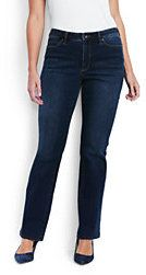 Lands' End Women's Plus Size Mid Rise Bootleg Jeans-Heritage Indigo Wash