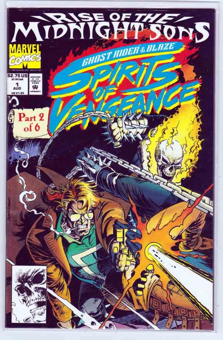 Ghost Rider Blaze Spirits of Vengeance #1 1992 Adam Kubert Pencils and Cover Art. Howard Mackie Story. Rise of the Midnight Sons, pt. 2.