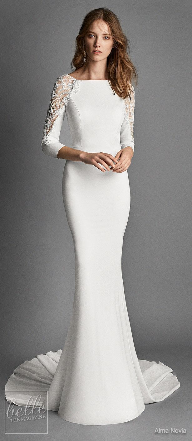 Modern Simple Long Sleeve A Line Satin Wedding Dress With Open Back Newadoring Dress Wedding Dresses Satin Wedding Dress Long Sleeve Wedding Dresses Lace