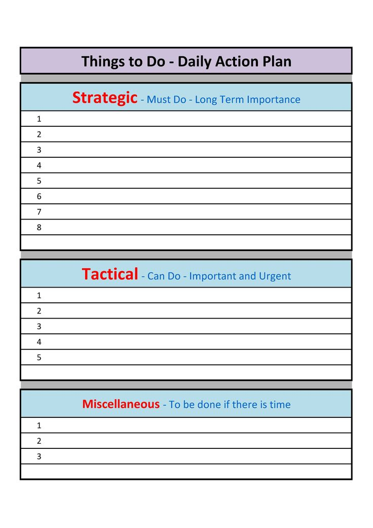 17 Best images about Plan – Daily Action Plan Template