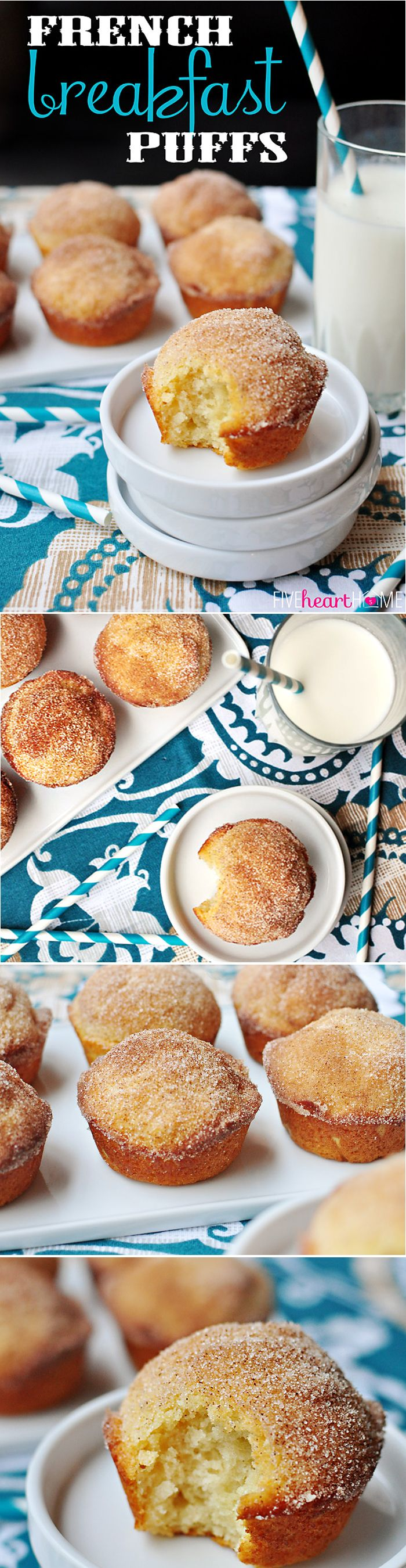 French Breakfast Puffs ~ tender vanilla muffins are drenched in melted butter and dipped in cinnamon sugar for a sweet and crunchy coating that makes breakfast time a treat!   FiveHeartHome.com
