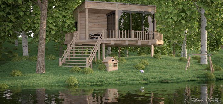 mod lisation d 39 une maison l 39 aide du logiciel 3ds max et le plugin forest pack rendu vray. Black Bedroom Furniture Sets. Home Design Ideas