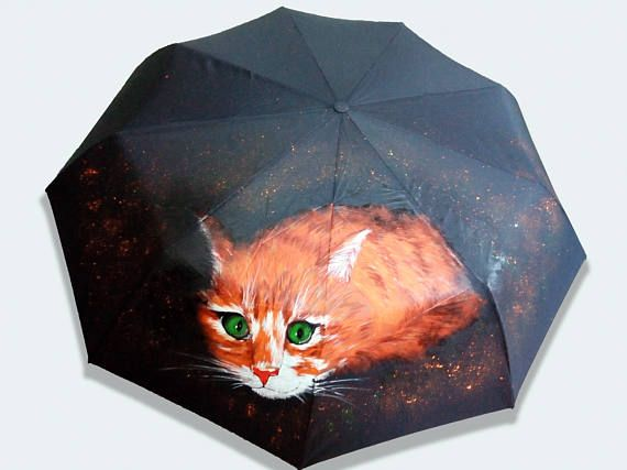 Umbrella Red-headed cat Cathand-painted semi-automatic