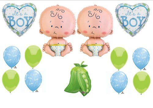 Two peas in a pod twin baby boys shower balloon decorating for Baby shower decoration ideas for twin boys