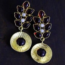 Matt Gold Look With Red Stones Drop Earrings For Indo Contemporary Wear Fashion By Maesha Jewels