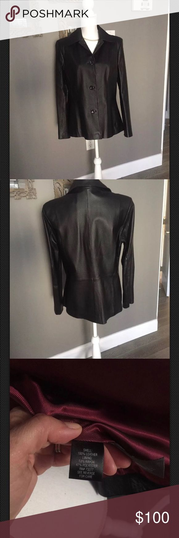 """Ladies black leather jacket size medium This is a new Croft & Barrow black womens jacket without tags. Received as a gift but not my style. Pet free smoke free home. Measures 17"""" shoulder to shoulder and 27.5 from top of collar to bottom hem in back. croft & barrow Jackets & Coats"""