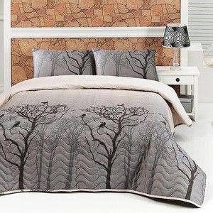 Sada přehozu přes postel a polštářů Bird, 200x220 cm