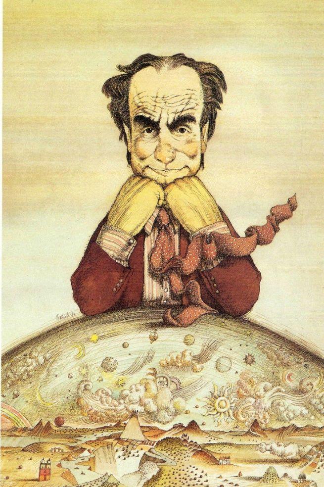 Italo Calvino ritratto da Tullio Pericoli, 1987