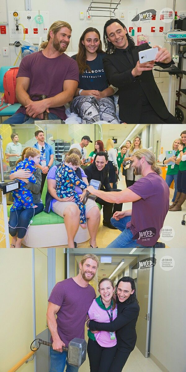 Thor and Loki visit sick kids at a Brisbane Hospital. Click here for full resolution: http://i.imgbox.com/nC46LXqn.jpg / http://i.imgbox.com/fjUmZ828.jpg / http://i.imgbox.com/X133TU3G.jpg Source: https://www.childrens.org.au/news-media/thor-visit/