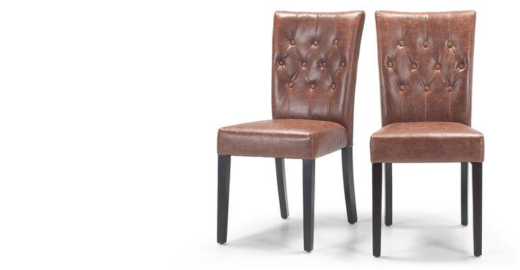 2 x Flynn gepolsterte Stühle, Kastanienbraun