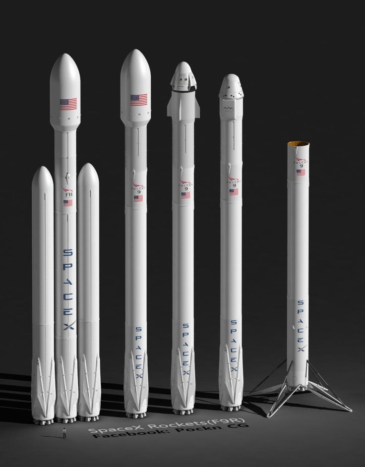 Rockets: SpaceX Falcon Heavy,  F9R+Fairing(5.2m), F9R+Dragon V2, F9R+Dragon, F9R(booster).