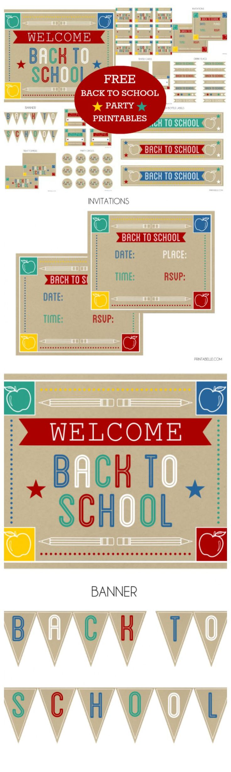 "These are the perfect free printables for throwing a back-to-school party. There are invitations, cupcake toppers, water bottle labels, a ""back to school"" banner, welcome sign, lunch notes, and so much more! See more back-to-school party ideas at CatchMyParty.com."
