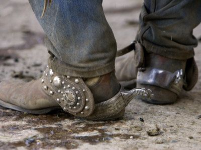 """Cowboy's Spurs. Sombrero Ranch, Craig, Colorado  *Now this is what working cowboys boots look like You won't see this in Cowboys & Indians magazine""""  Photo by Carol Walker"""