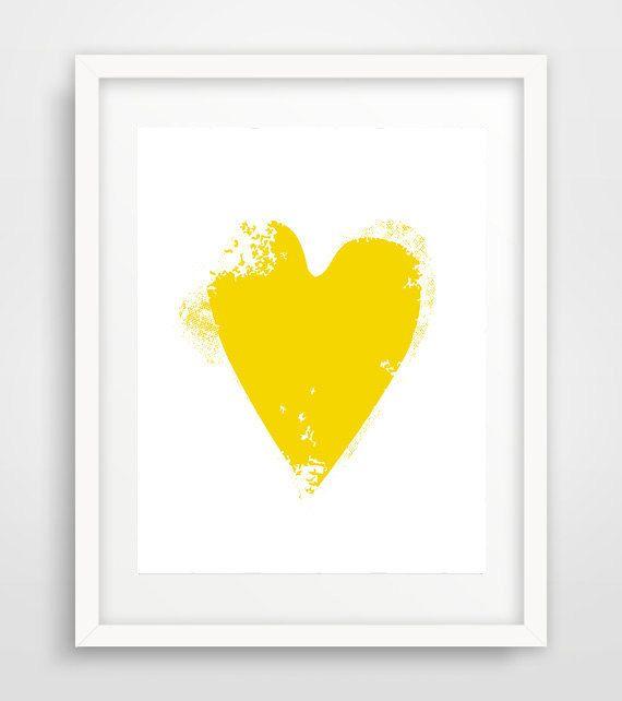 Printable yellow heart, Yellow Heart, Yellow Heart Print, Yellow Heart Poster…