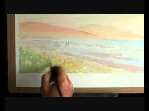 In Lesson 5 Artist and Author Paul Taggart takes you through the next stage in this watercolour painting produced using the Wet on Dry technique.    In the first section of this episode, Paul shows how to maximise the use of masking fluid as a way of protecting certain highlight areas of the underlying layer from the layer to be subsequently painted in forthcoming lessons.    Then the area of sky is given its second layer, with its dramatically streaked colours and clouds.