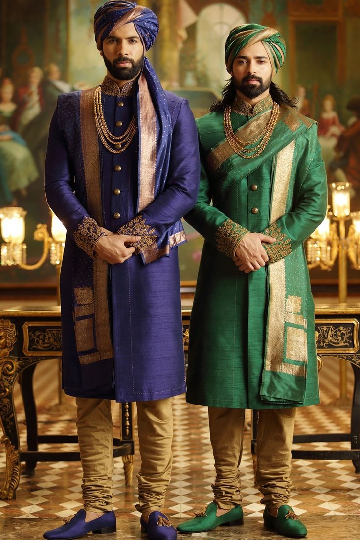 Samyakk Green And Blue Silk Embroidered Achkan Sherwani