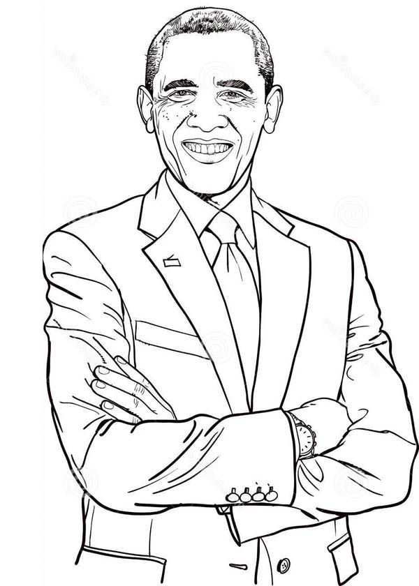 Barack Obama Dashing Of Barack Obama Coloring Page Coloring