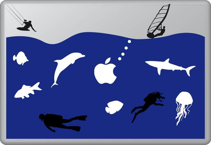The Life Aquatic 3 | MacBook sticker | #pasteit #sticker #stickers #macbook #apple #blackandwhite #art #drawing #custom #customize #diy #decoration #illustration #design #sea #sealife #underthesea #animals #creatures #sub #sail #sailing #swim #fish #fishes #blue