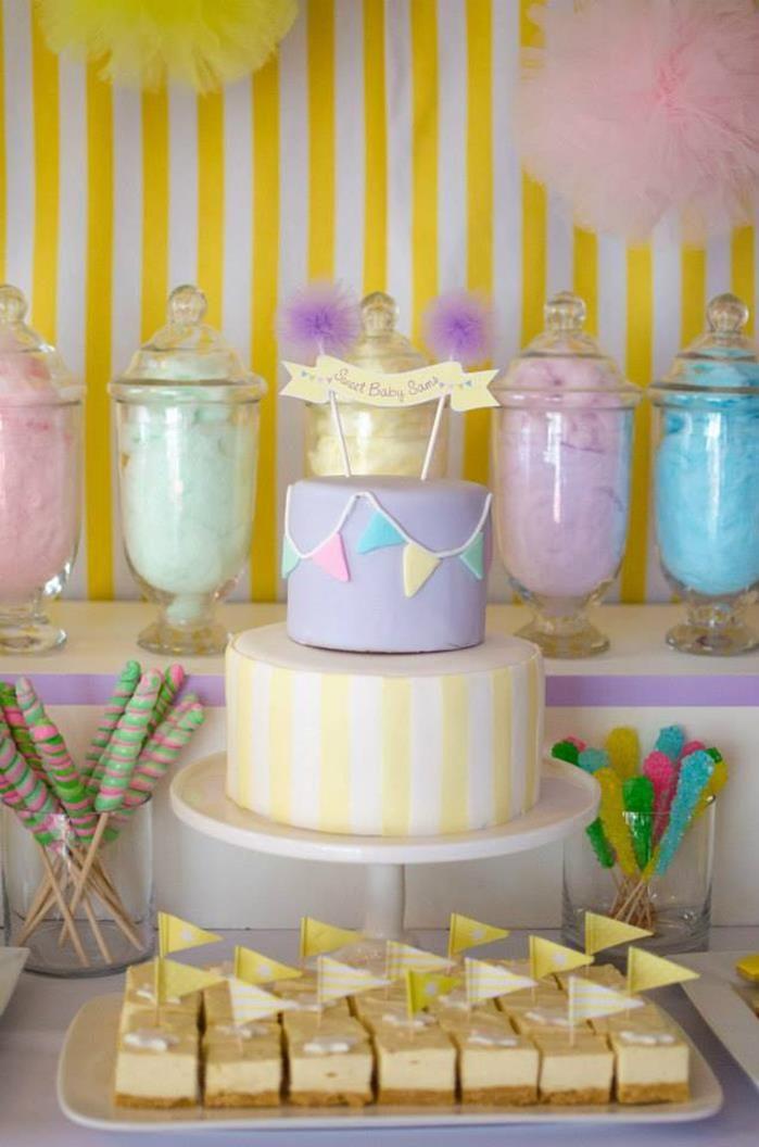 Throw a baby shower centered around cotton candy! Via Kara's Party Ideas @HUGGIES Baby Shower Planner Baby Shower Planner