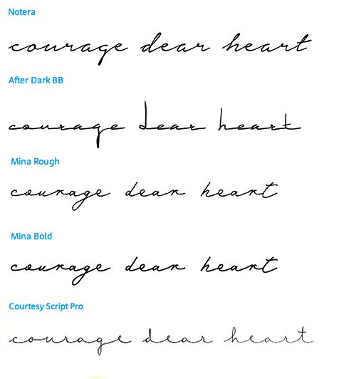 courage dear heart - which font?                                                                                                                                                                                 More