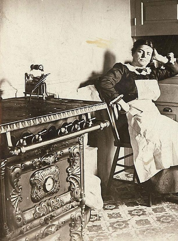 Victorian Kitchen Maid - Not happy about having her picture taken.   :)