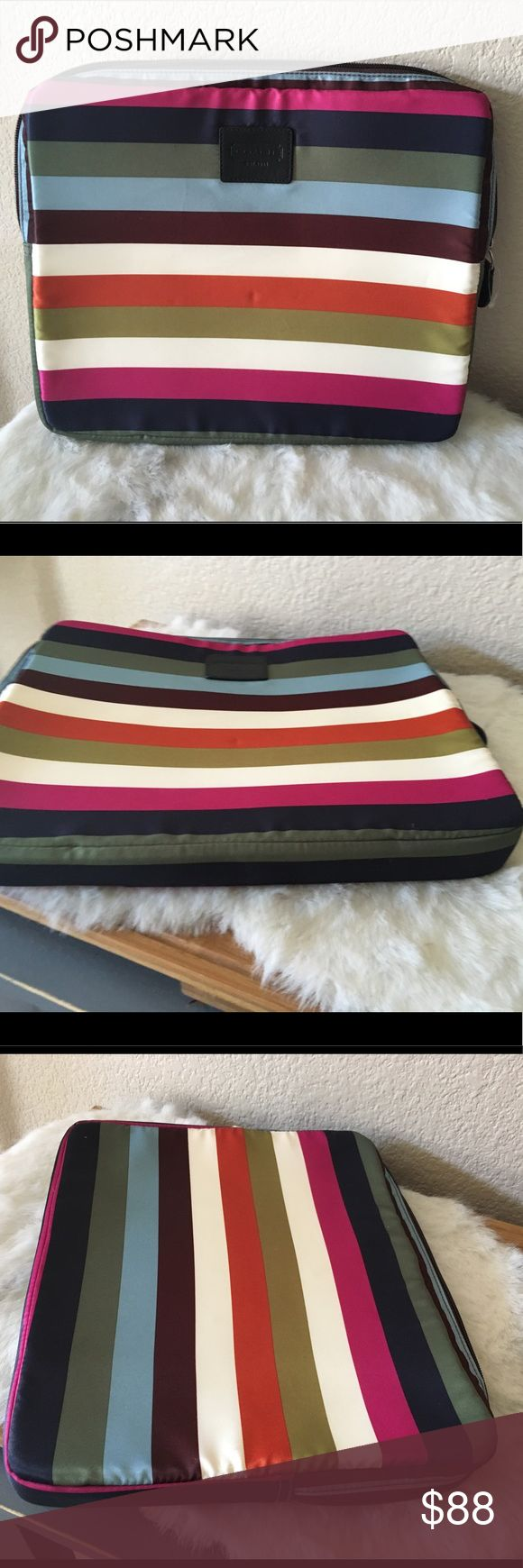 Coach Legacy Stripe Laptop Sleeve 15 inch dia Coach laptop sleeve in Legacy Stripe Satin. Pristine condition, without wear or staining. Dimensions 13 inch x 10 inch x 1.5 inch Coach Accessories Laptop Cases