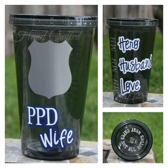 Police Officer / Sheriffs Deputy Wife Tumbler by HandCraftedHC, $13.00