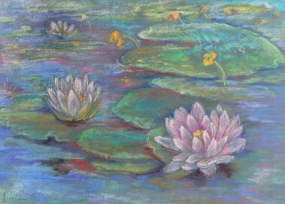 Lotus Flower Art Painting Zen Decor Yoga Room by CanisArtStudio