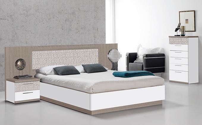 Muebles para dormitorio pareja acabados teka, ceniza y blanco liso.