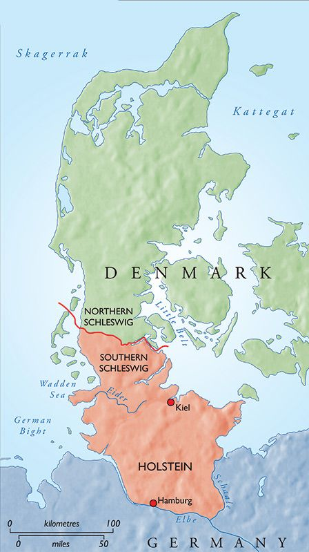 The Jutland peninsula in 1864. The area in red was Danish prior to that year.