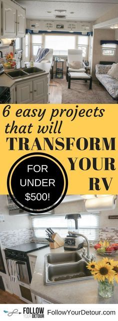 Easy, quick, cheap RV remodel tips. We transformed our fifth wheel camper into our home for full-time RV living for under $500! #RVliving #fifthwheelliving #fifthwheel #homeiswhereyoupark it #fulltimeRV #RVing #RVers #RVlife #camping #campgrounds #camplife #campinglife #RVremodel #fifthwheelremodel