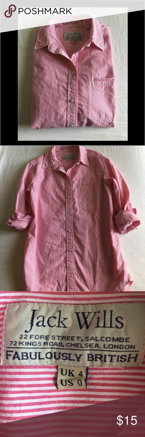 Jack Wills Boyfriend Fit Collar shirt Jack Wills pink and white pinstripe, button down, collar shirt. US size 0 Jack Wills Tops Button Down Shirts