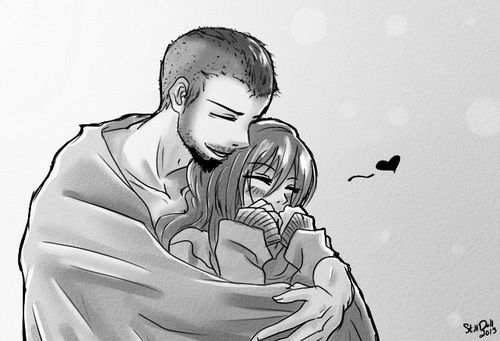 anime couple snuggling: Cute Anime Couple Cuddling